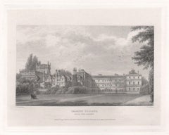 Trinity College from the Garden. Oxford University. Antique C19th engraving