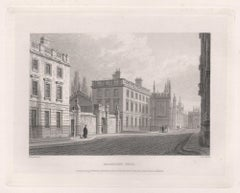 Magdalen Hall. Oxford University. Antique C19th engraving