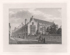 Lincoln College. Oxford University. Antique C19th engraving