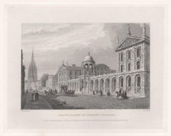 South Front of Queen's College. Oxford University. Antique C19th engraving