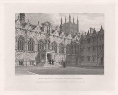 The Hall & Chapel, Oriel College. Oxford University. Antique C19th engraving
