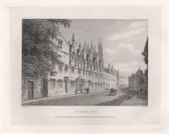 St Alban Hall. Oxford University. Antique C19th engraving
