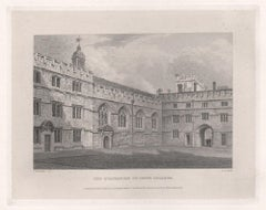 The Quadrangle of Jesus College. Oxford University. Antique C19th engraving