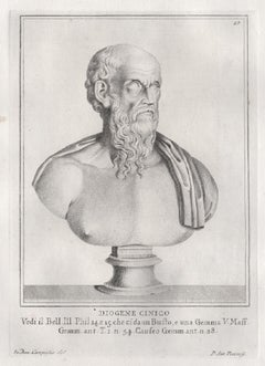 Diogenes the Cynic, Greek philosopher. C18th Grand Tour Roman bust engraving