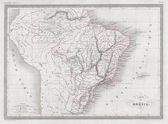 Carte du Bresil, antique 1860s engraved map of Brazil