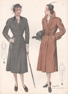 French Mid-Century 1952 Womens Fashion Design Vintage Coat Suit Halftone Print