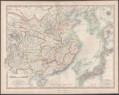 China and Japan, English antique map by Alexander Keith Johnston, 1901