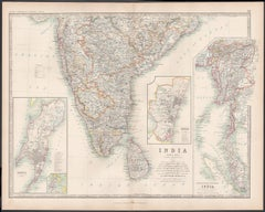 India (Southern Sheet), English antique map by Alexander Keith Johnston, 1901