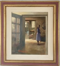 FRENCH INTERIOR WITH TUGGS STANDING,T W QUINN BRITISH ARTIST 1919.2015