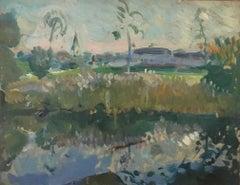 Un MATIN de Juillet oil on panel Jean-Franck BAUDOIN (FRANCESE, 1870-1961