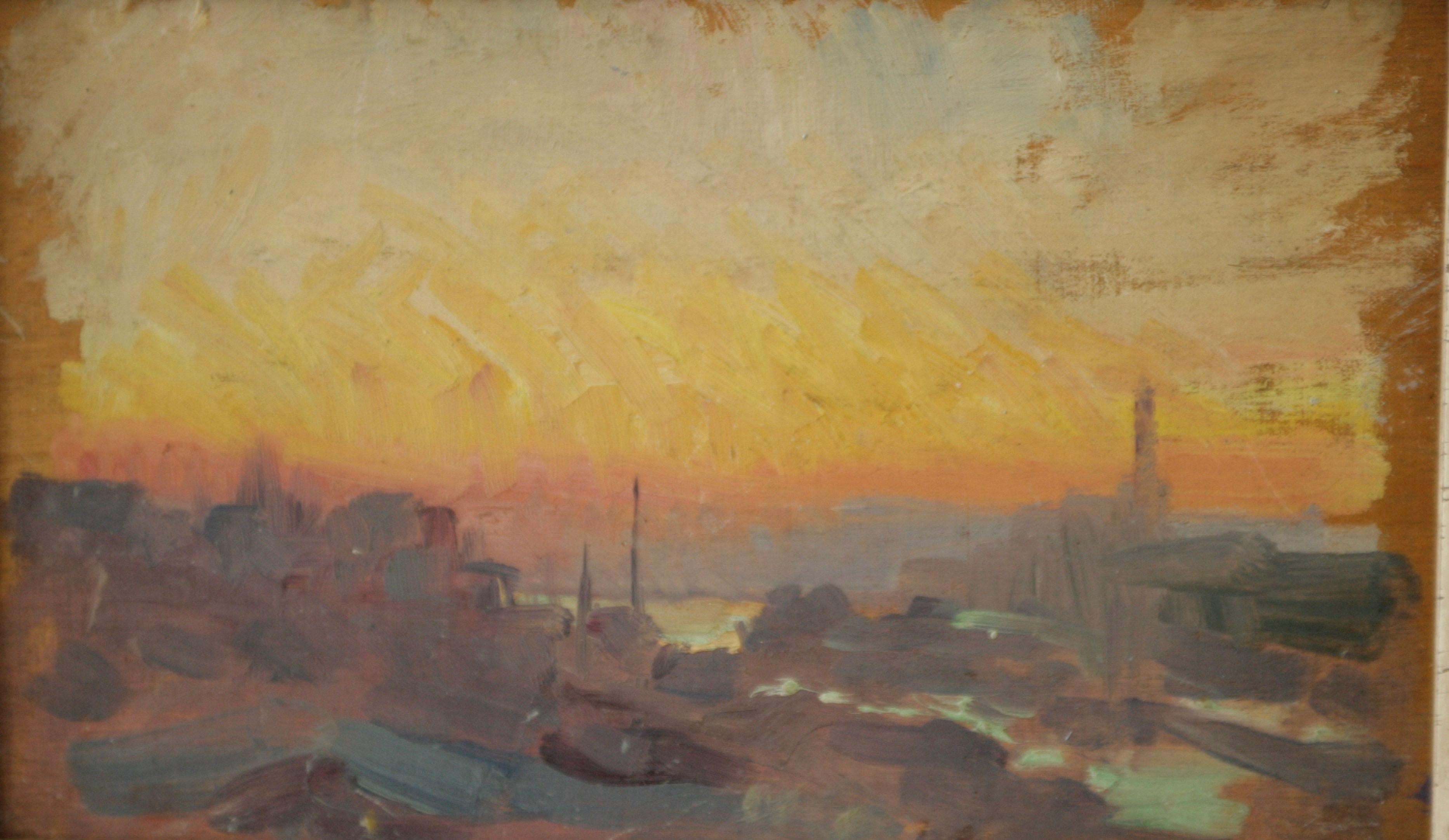 oil sketches that came directly from the artist studio ..JEAN FRANCK BAUDOIN