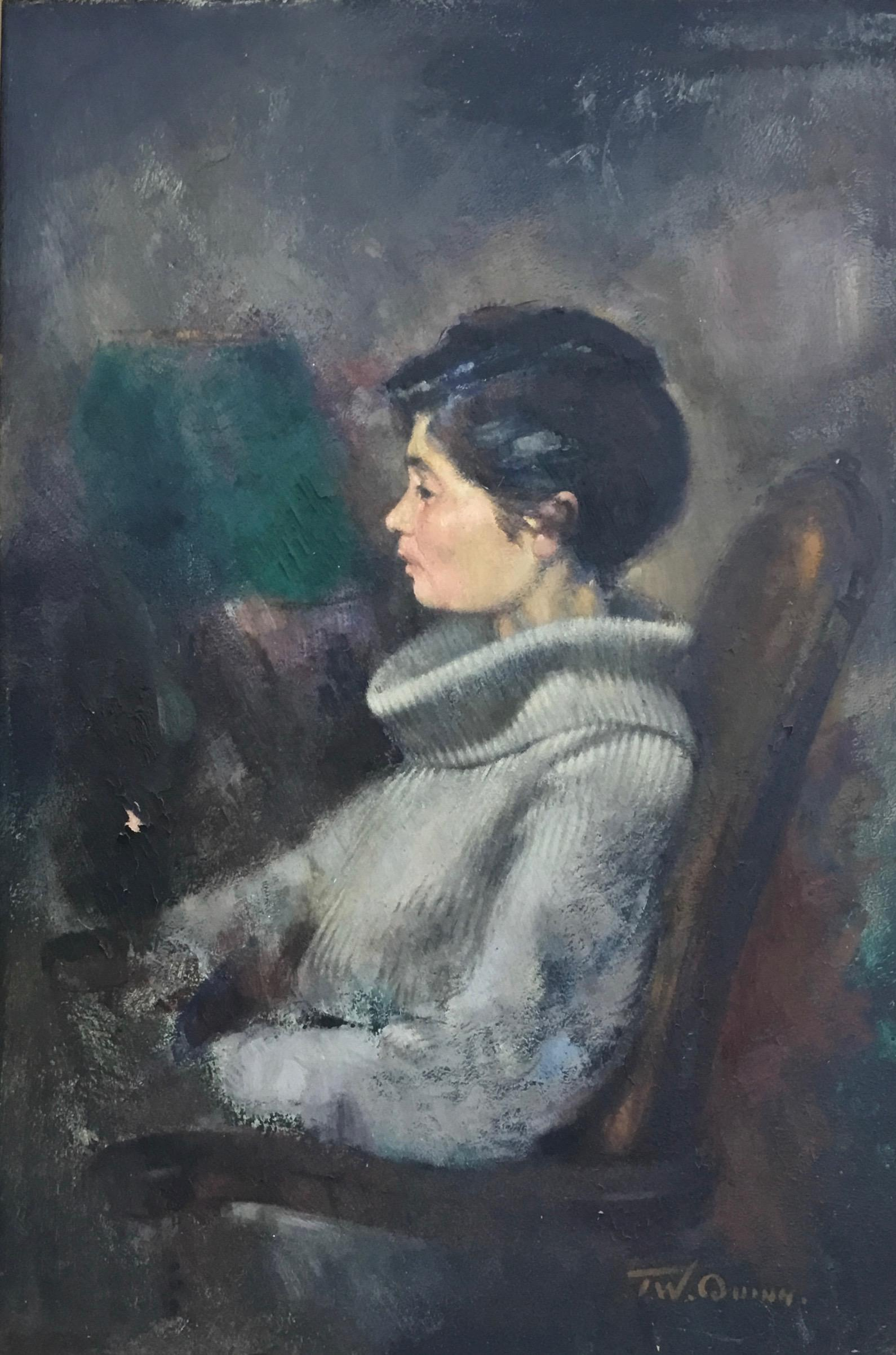 PORTRAIT OF THE ARTIST WIFE ,,Tuggs, Exhibited at THE ROYAL ACADEMY SUMMER