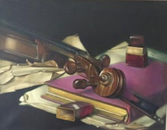 STILL LIFE WITH STRADIVARIUS T W QUINN BRITISH ARTIST