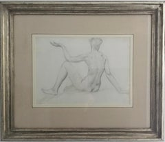STUDY of a SEATED FEMAIL NUDE FROM BEHIND.Augustas Edwin John.OM RA British