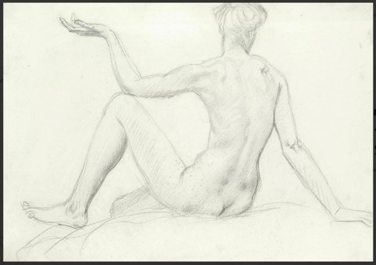 STUDY of a SEATED FEMAIL NUDE FROM BEHIND.Augustas Edwin John.OM RA British  - Art by Augustus Edwin John OM RA