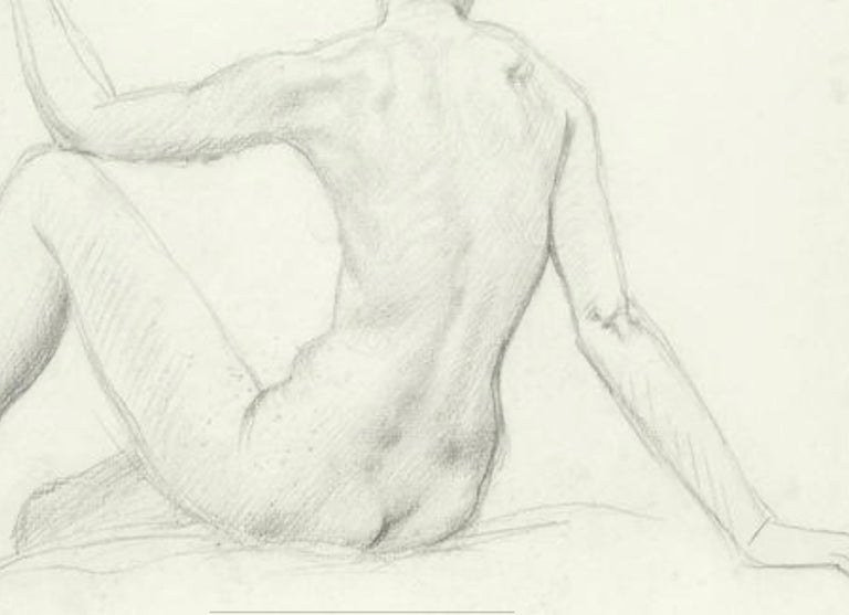 STUDY of a SEATED FEMAIL NUDE FROM BEHIND.Augustas Edwin John.OM RA British  - Gray Figurative Art by Augustus Edwin John OM RA