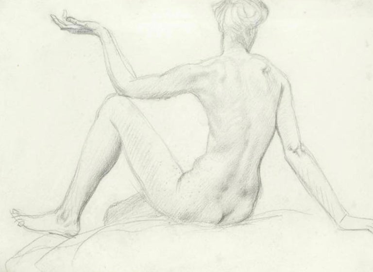 STUDY of a SEATED FEMAIL NUDE FROM BEHIND.Augustas Edwin John.OM RA British  For Sale 2