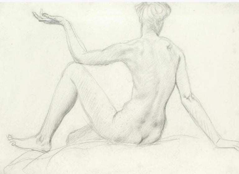 STUDY of a SEATED FEMAIL NUDE FROM BEHIND.Augustas Edwin John.OM RA British  For Sale 3