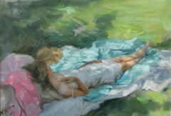 THE FRENCH SIESTA  pastel by Vincente Romero Spanish contemporary artist