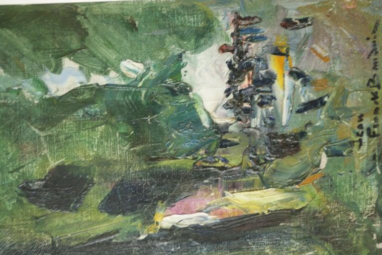 Au Pied mon Arbre - Brown Landscape Painting by Jean Frank Baudoin