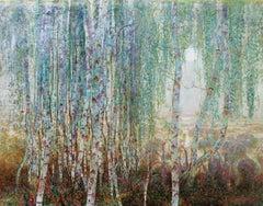 Moon, Birches in the Mist