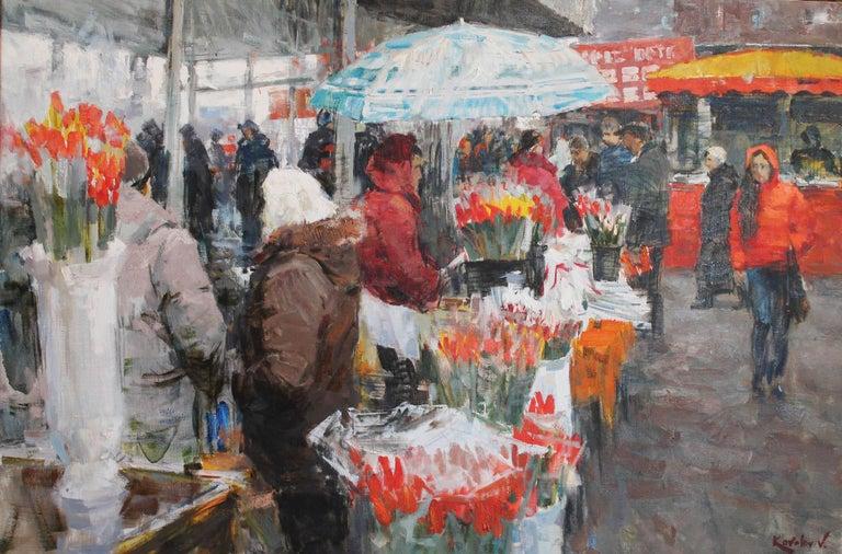 Vladimir Kovalov Figurative Painting - Flower Sellers