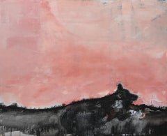 Abstract Acrylic Pink and Black Landscape Painting of a Dog