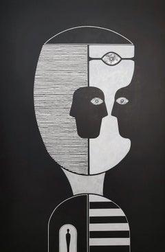 Cuban Black Figurative Portrait Painting