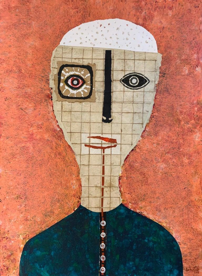 Hector Frank Portrait Painting - Untitled Arches Paper Orange Portrait
