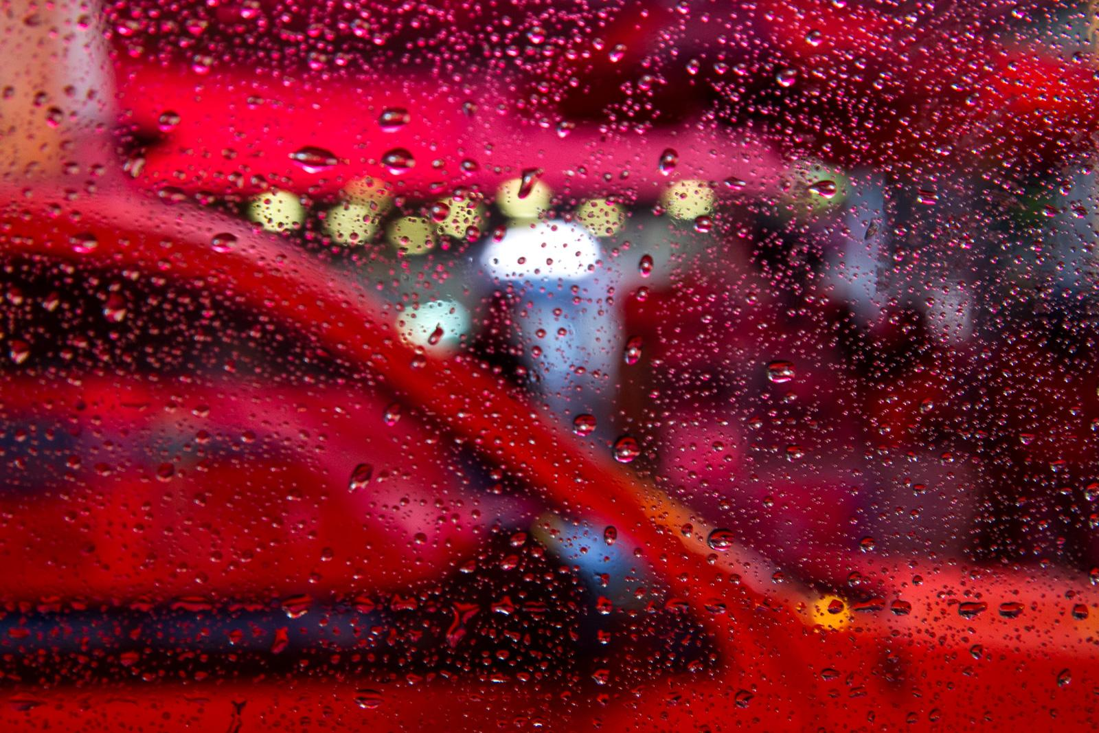 Pink Cab - Florescent Abstract Photograph of New York City