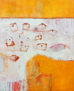 Abstract Acrylic Orange and White Landscape Painting