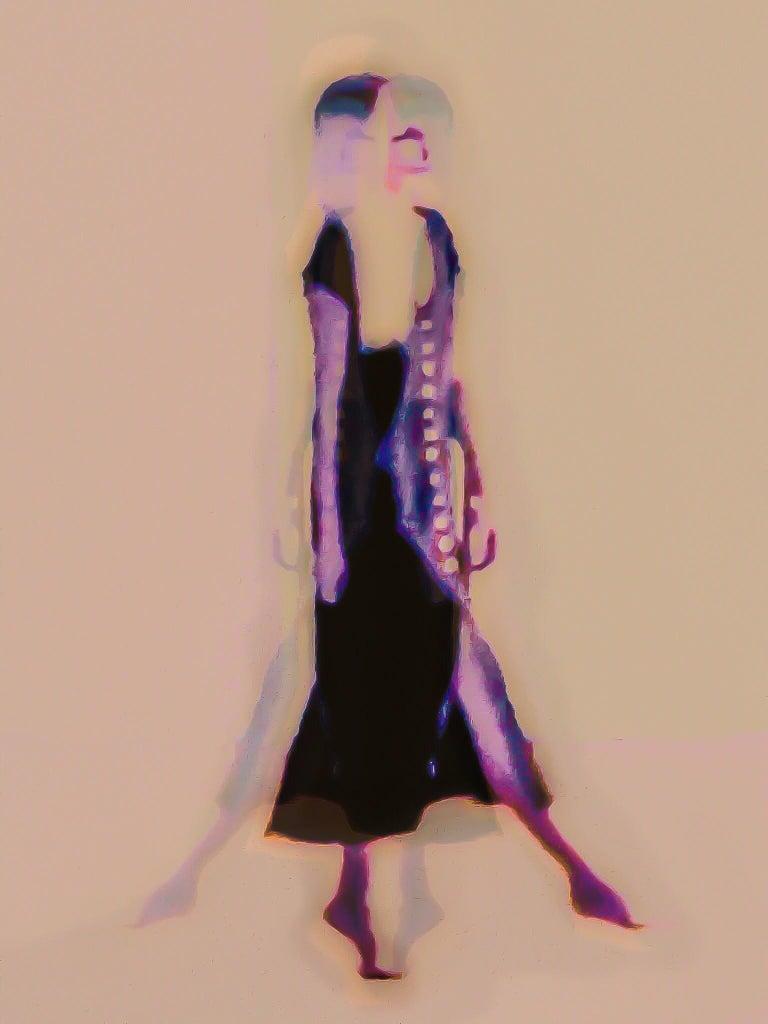 Matthew Tierney Abstract Print - Florescent Neutral Figurative Female Dancer