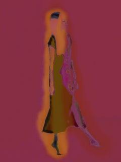 Florescent Burgundy Figurative Female Dancer
