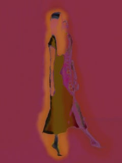 the Dancer - Abstract florescent female silhouette