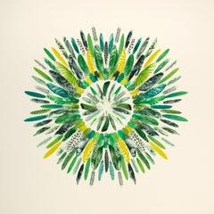 Song Bird Mandala - Art, Ink, Feather, Collage, Etching Press, Modern Art, Birds