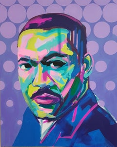 Martin Luther King Jr - Pop Art, Acrylic, Enamel Gloss, Canvas, Activist, Icon