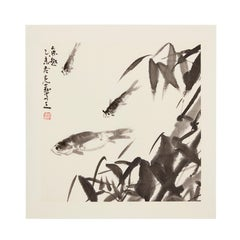 Delight With Fishes - fine art, watercolour, Chinese art, rice paper, animals