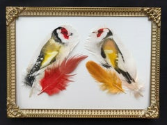 Two Goldfinches - Goldfinch, Feathers, Dome Frame, Birds, Nature, Vintage, Brass