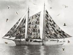 Floating Feathers - Archival Print, Modern Art, Surrealist, Etching Press, Birds