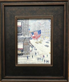 Winter Above Cartier's, Flags, Contemporary Oil Painting of New York City
