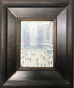 Winter Wall Street, American Flags, Contemporary Oil Painting of New York City