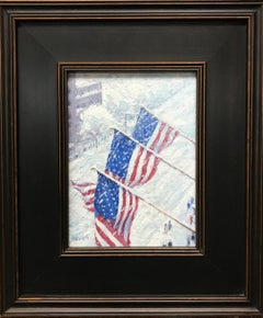 Flags Above the Boulevard,Contemporary Oil Painting of New York City