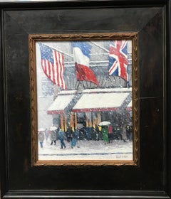 Winter At Cartier's, Iconic Flags, Contemporary Oil Painting of New York City
