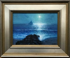 Moonlight Sailing Series, Contemporary Impressionistic Landscape Oil Painting