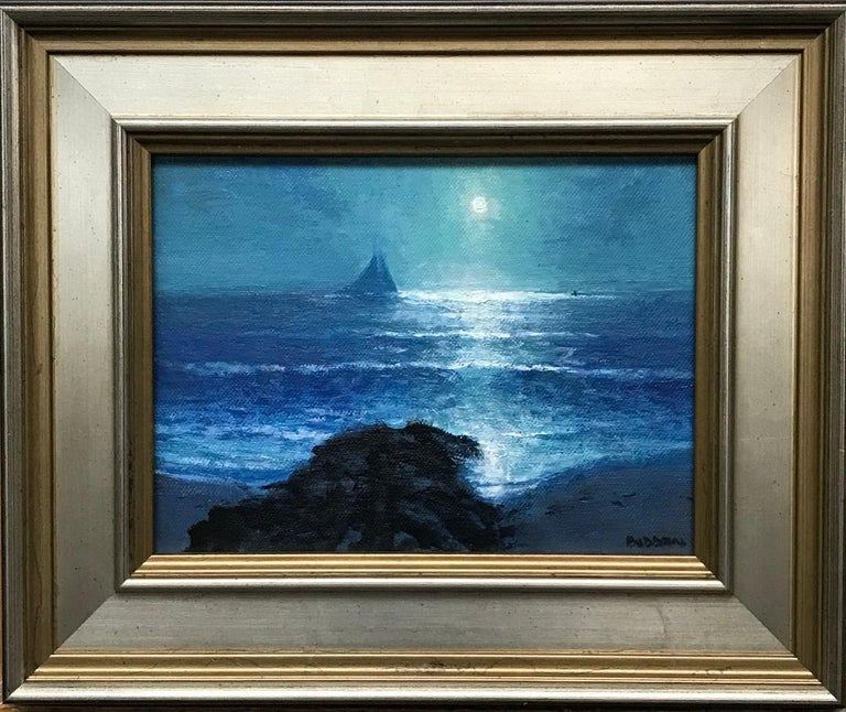 An oil painting on panel by award winning contemporary artist Michael Budden that showcases a dramatic moonlight and reflection near a jetty created in an impressionistic realism style. The image measure 8 x 6 and 11.74 x 9.75 framed. ARTIST'S