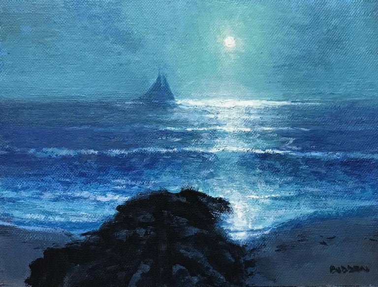 Moonlight Sailing Series, Contemporary Impressionistic Landscape Oil Painting For Sale 1