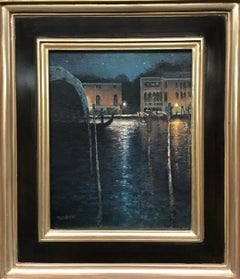 Evening On The Canal, Venice, Contemporary Landscape Oil Painting on Canvas