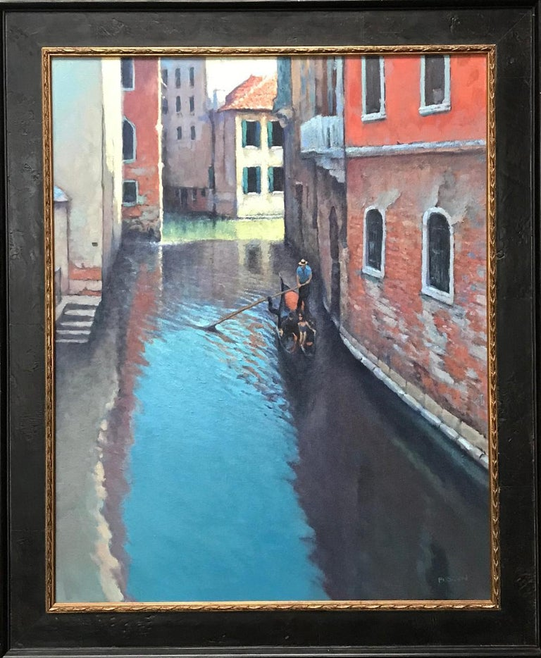 An oil painting on canvas by award winning contemporary artist Michael Budden that showcases a romantic canal ride for a happy   couple created in an impressionistic realism style. The painting exudes the very rich qualities of color, texture and