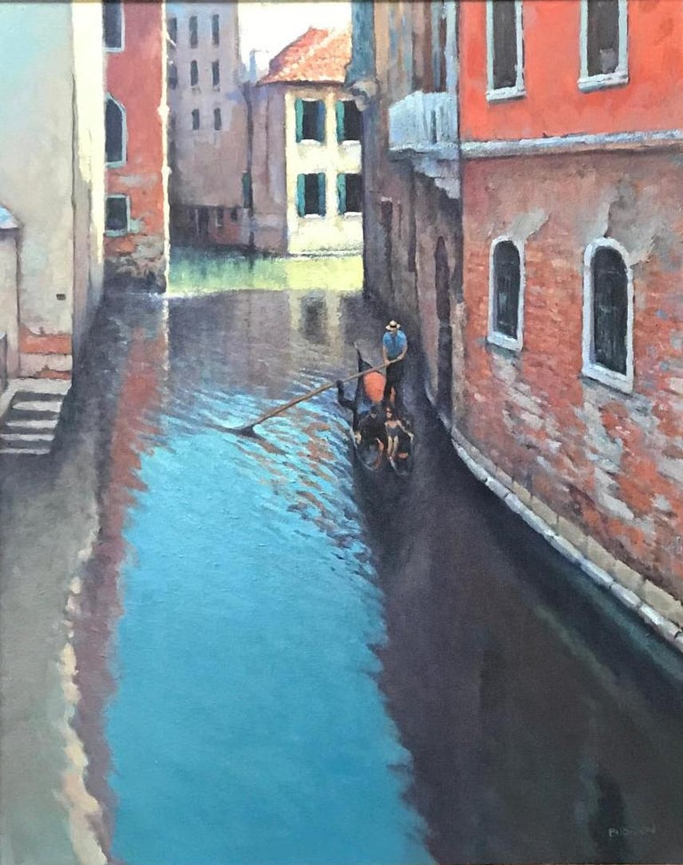 Reflections Of Venice, Contemporary Impressionistic Oil Painting on Canvas For Sale 1