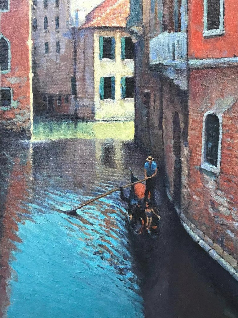 Reflections Of Venice, Contemporary Impressionistic Oil Painting on Canvas For Sale 2